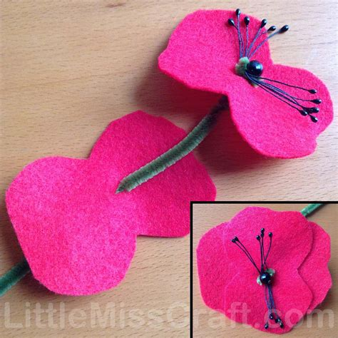 Handmade Felt Flowers Tutorial - crafts poppy felt flower