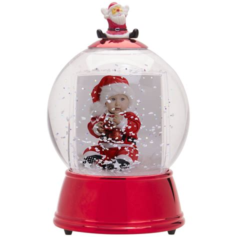 wholesale christmas photo snow globes red light up santa