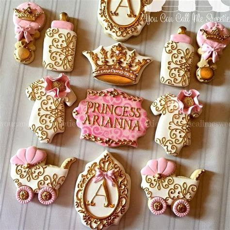 Baby Pink Gold Princess Pink Gold Baby Shower Cookies Gold