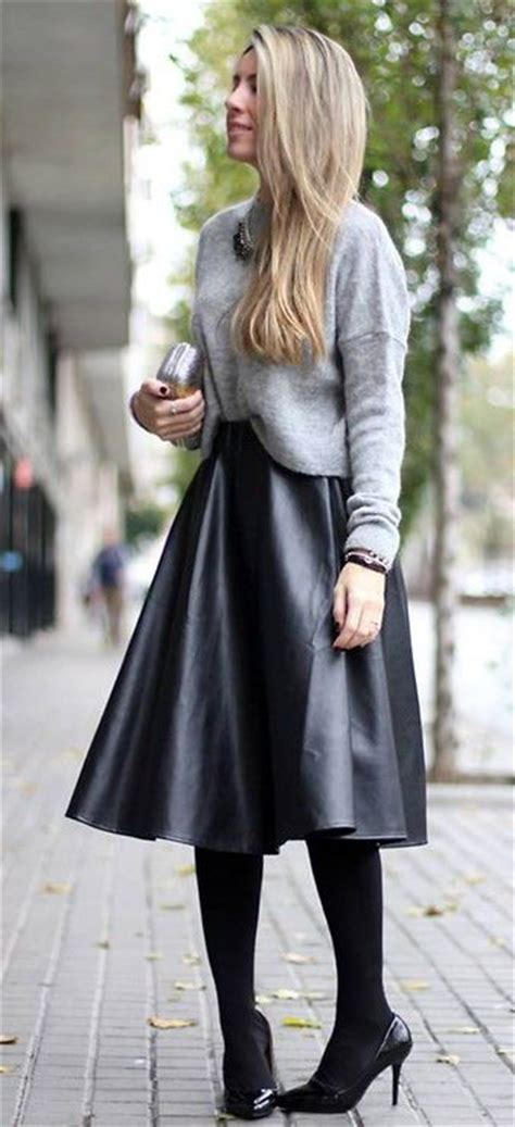 trendy leather skirt collection with sweaters