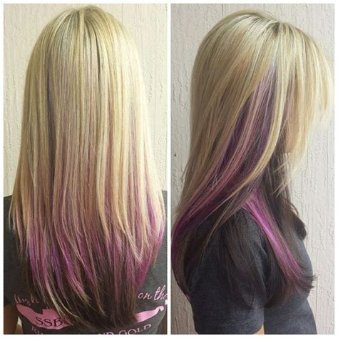 color underneath hairstyles 17 best images about blonde hair purple underneath the
