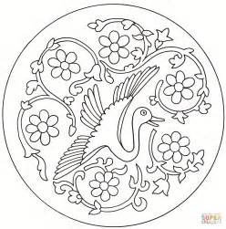 japanese pattern coloring book bird roundel coloring page free printable coloring pages
