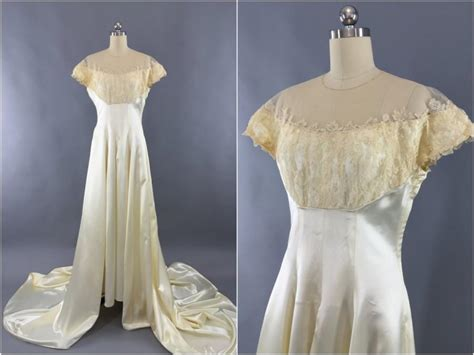 Vintage Satin Wedding Dresses by Vintage 1940s Wedding Dress 40s 50s Ivory Satin Wedding