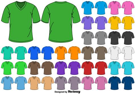 tshirt colors vector set of color v neck t shirts free vector