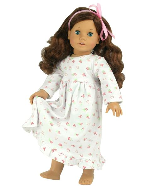 18 Inch Dolls Clothes Nightgown Fits American Girl Dolls Print Knit Nightgown Ebay American Doll Clothes Templates