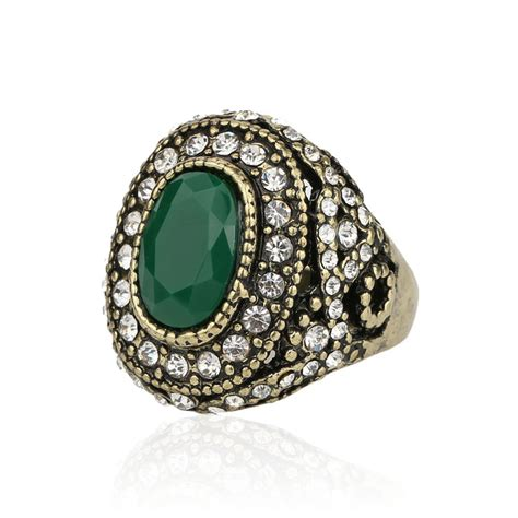 jewelry in bulk green agate ring european and american popular style bulk