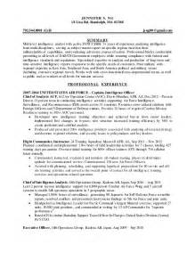 Intelligence Officer Sle Resume by Intelligence Specialist Resume