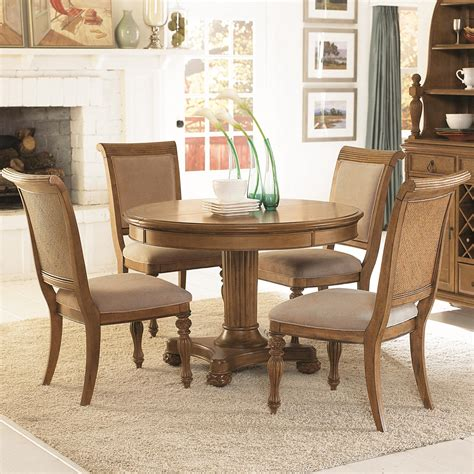 Dining Sets With Upholstered Chairs 5 Pedestal Dining Table Side Chairs With Upholstered Seats Backs Set By American