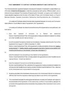 Letter Of Amendment To Employment Contract Contract Amendment Template Contract Amendment Template Sle Sle Contract Amendment