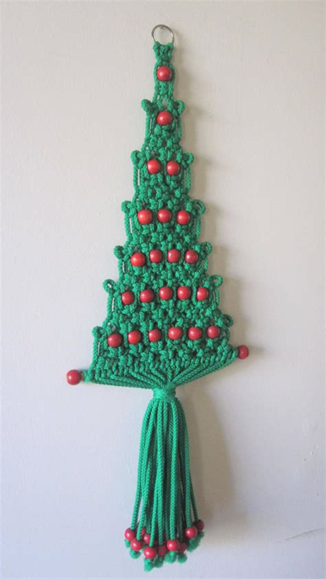 christmas tree macrame wall hanging