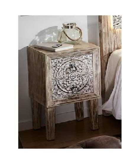 mesitas de noche de madera comprar mesita de noche madera tallada 40 x 34 x