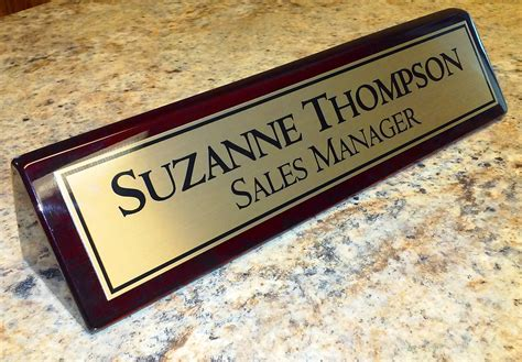 personalized desk name plate personalized desk name plate rosewood piano finish desk wedge
