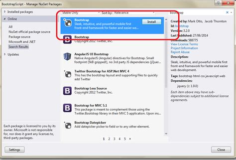 installing bootstrap nuget the asp net mvc club step by step how to install the