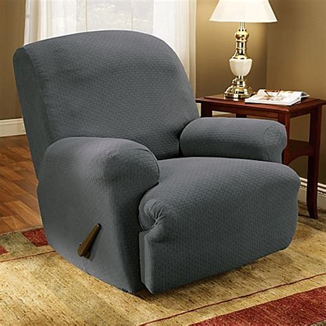 gray recliner slipcover sure fit 174 simple stretch subway tile 1 piece recliner