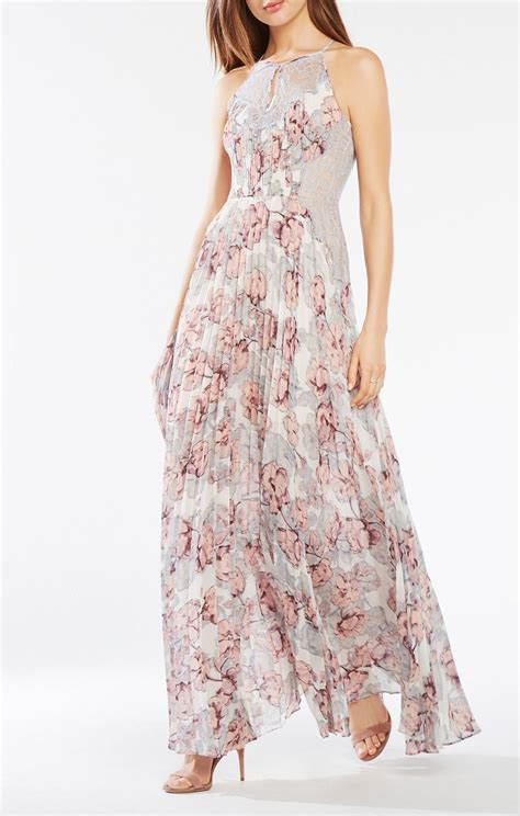 Pleated Floral Print Dress pleated floral print gown