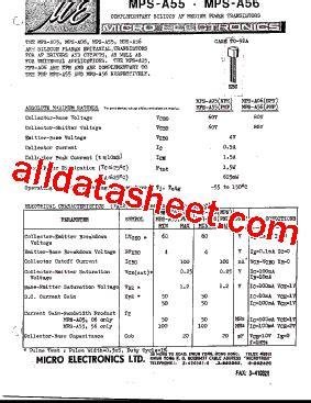 transistor mpsa06 datasheet mps a06 데이터시트 pdf micro electronics
