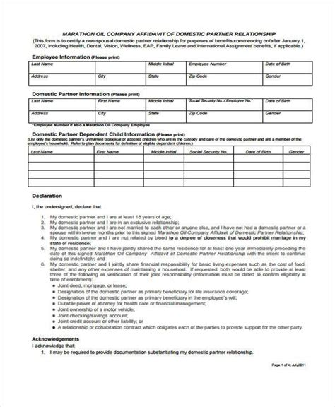 sle relationship affidavit forms 8 free documents in