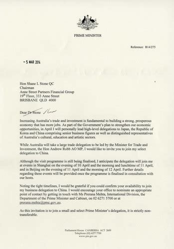 Invitation Letter Format For Minister Letter Of Invitation From Prime Minister Abbott China Visit The Family In Australia