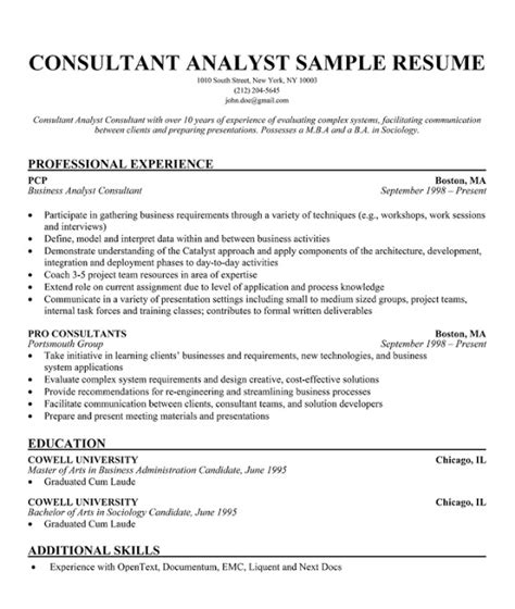Resume Objective For Consultant Resume Sles Small Business Consultant Resume
