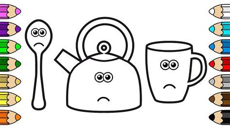 coloring  baby  crying kettle mug spoon