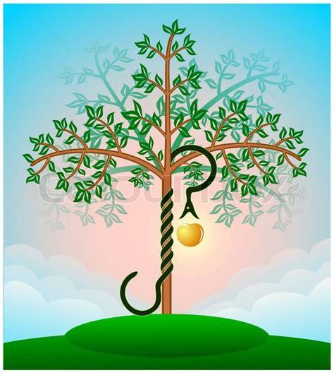 farvet bibel kundskabens trae med slangen og  aeble