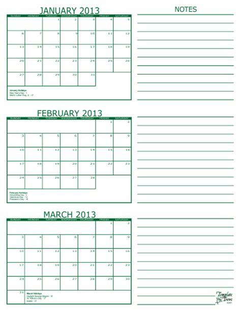 free printable 3 month calendar in pdf format five colors