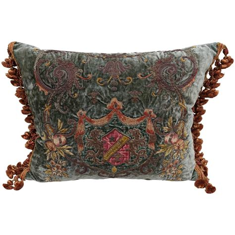 Pillows With Fringe by 19th Century Metallic And Chenille Embroidered Pillow With