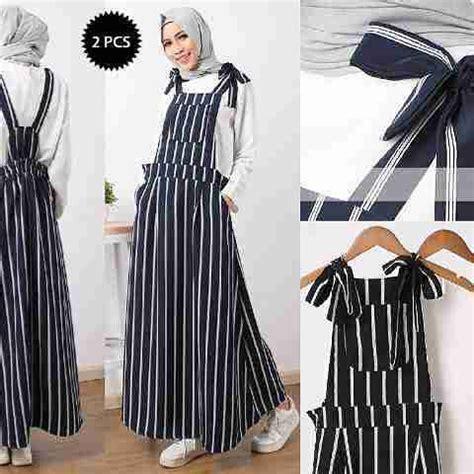Gamis Overall Stripes By Nibras Nb166 setelan overall modis b043 model baju remaja terbaru
