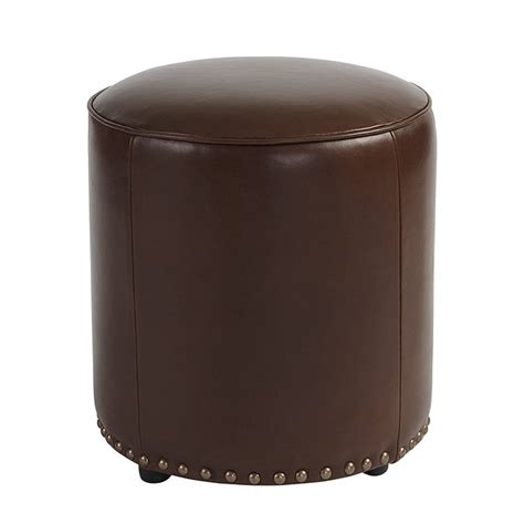 leather ottomans with nailheads sawyer leather ottoman with antique brass nailheads