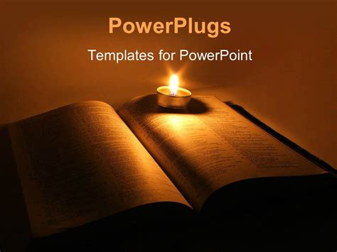 theme powerpoint light powerpoint template a book with a candle and its light in