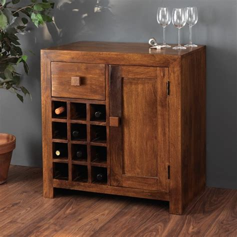 Solid Mango Wood Wine Cabinet   12 Bottle Wine Rack   Casa