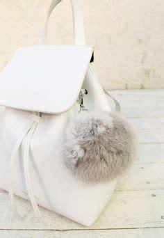 Grey Furball Bag Charm white faux fur puff purse accessory such a