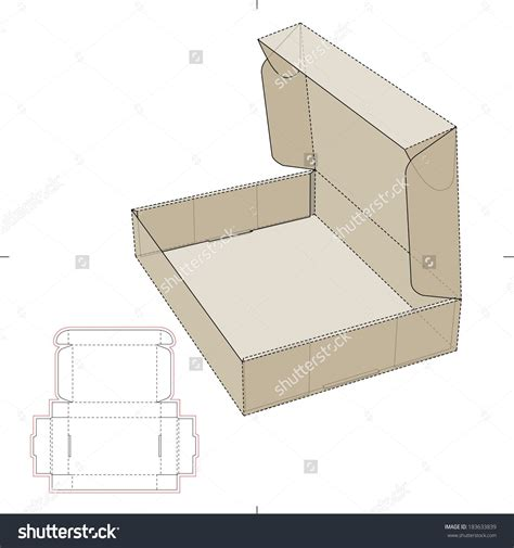 pattern box cardboard flat box with die cut pattern stock vector