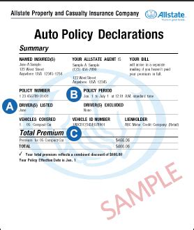 How to Read Your Auto Policy Declaration   Allstate