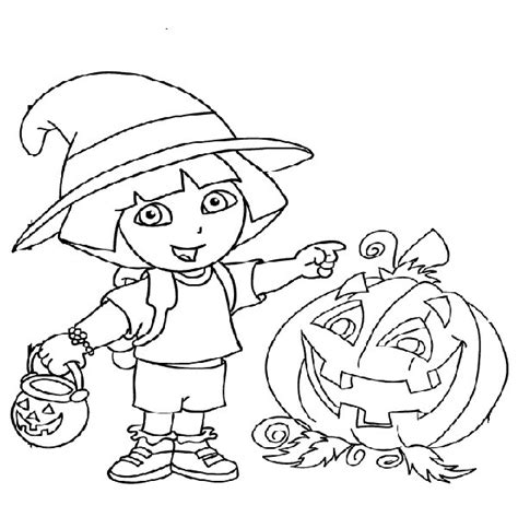 dora halloween coloring page dora halloween coloring pages getcoloringpages com