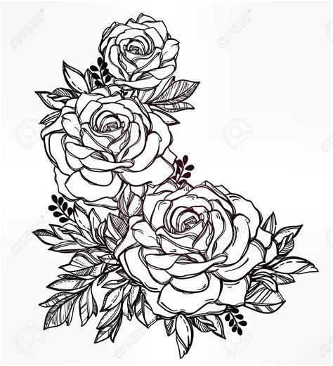 detailed rose tattoos vintage floral highly detailed flower stem