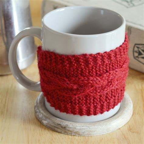 how to knit a mug cosy diy braided cable mug cosy with free pattern