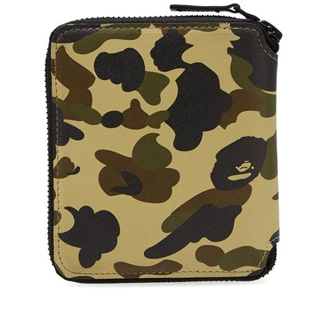 Bathing Ape 1 lyst a bathing ape 1st camo leather wallet m