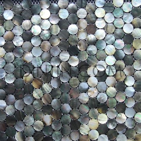 penny round black mother of pearl mosaic tiles mediterranean mosaic tile other metro by