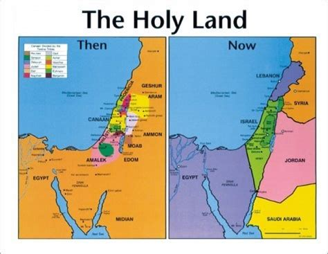 middle east map now and then holy land then and now bible wall map booksofthebible