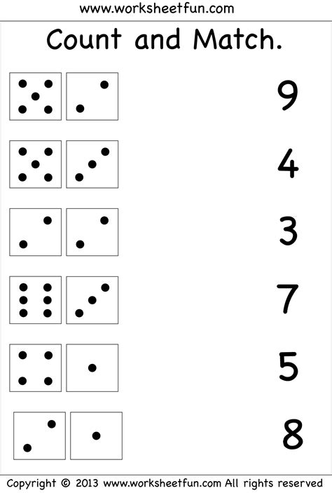 printable numbers matching game 6 best images of printable objects matching with numbers