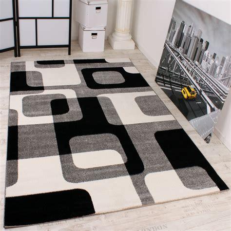 teppiche schwarz designer teppich in grau schwarz weiss retro design top
