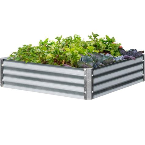 galvanized steel garden beds earthmark bajo series 40 in x 40 in x 10 in square