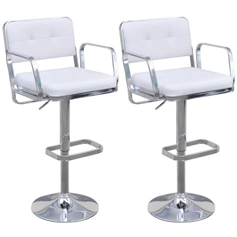white counter height swivel chairs 2 height adjustable swivel bar stools with armrests white