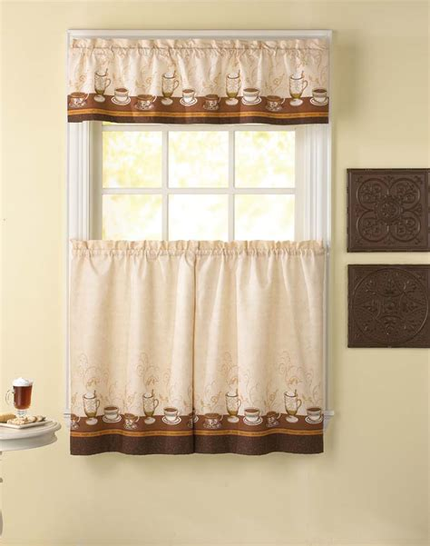 Tier Curtains For Kitchen Caf 233 Au Lait Kitchen Curtain Tier And Valance Curtainworks