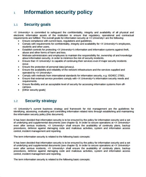 information security policy document template 10 it security policy templates sle templates
