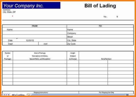 8 blank bill of lading short form template ledger paper