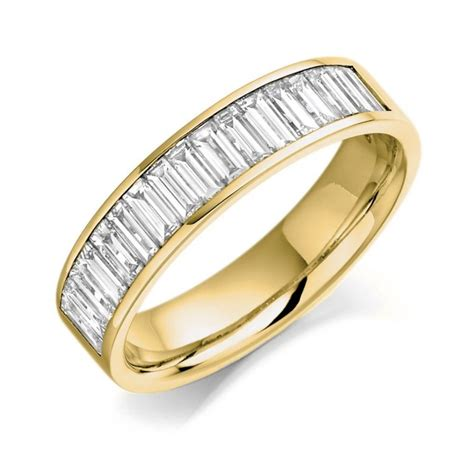 18ct yellow gold 1 00ct baguette cut half eternity