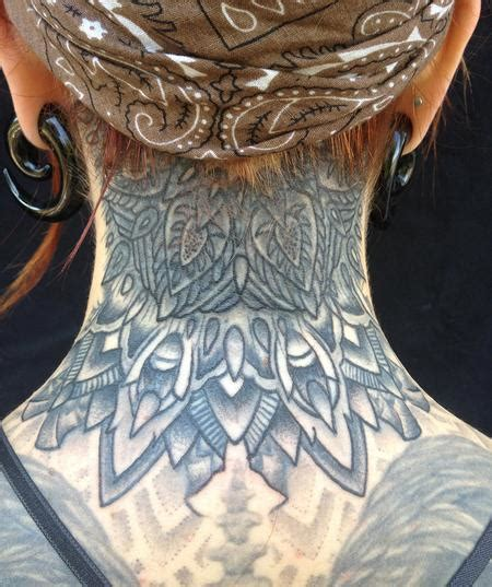 mandala neck tattoo jeff johnson tattoos flower kates neck mandala 2