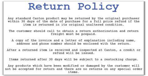 returns policy template canton racing products warranty information